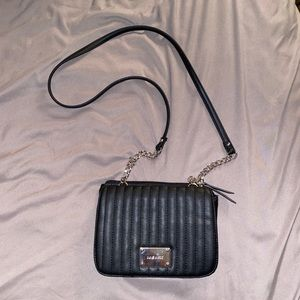 Nine West black quilted crossbody bag chain strap